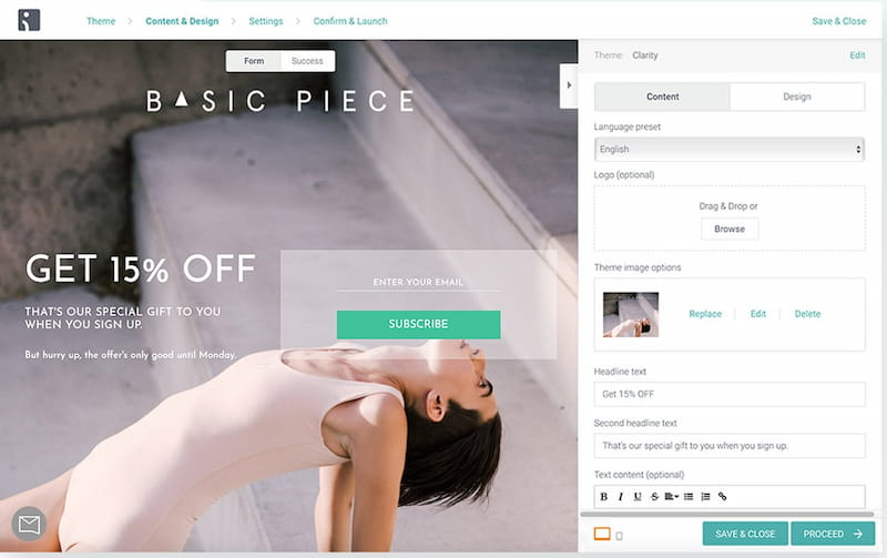 Omnisend drag-and-drop Landing Page builder.