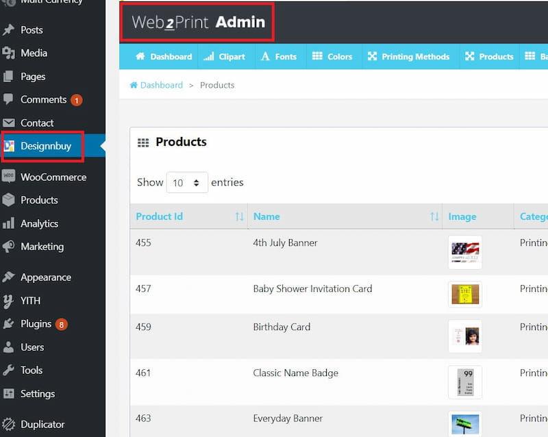 PrintCommerce Web2Print admin area.