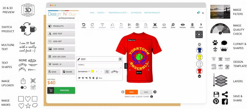 PrintCommerce WooCommerce product designer plugin.