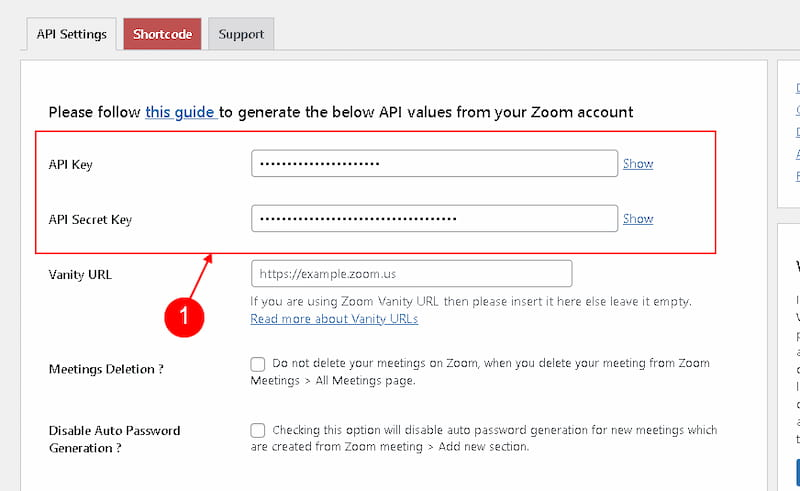 Adding Zoom API keys to WordPress site.
