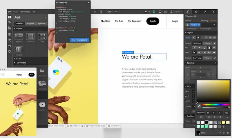 Webflow website builder.
