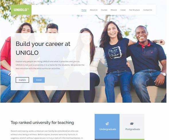 Zakra Education WordPress template for high schools.