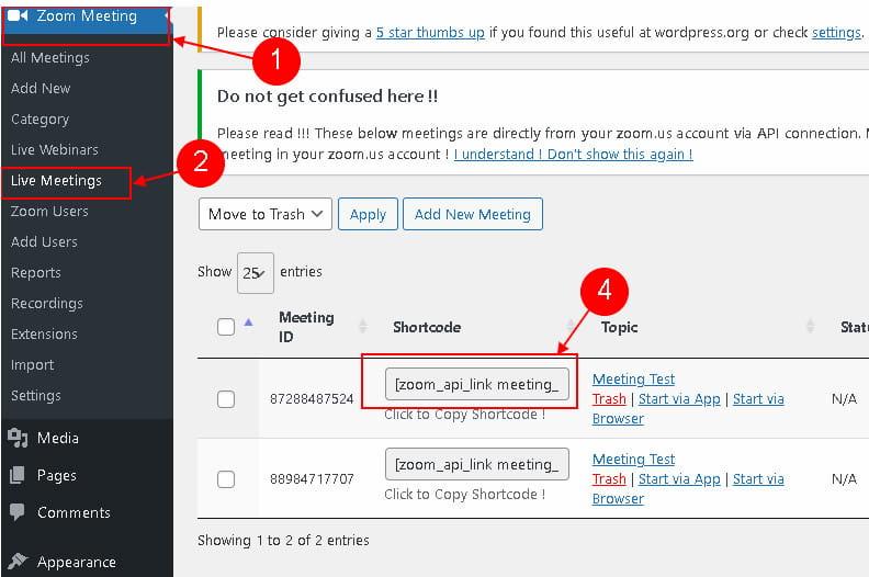 Create Zoom meeting in WordPress.