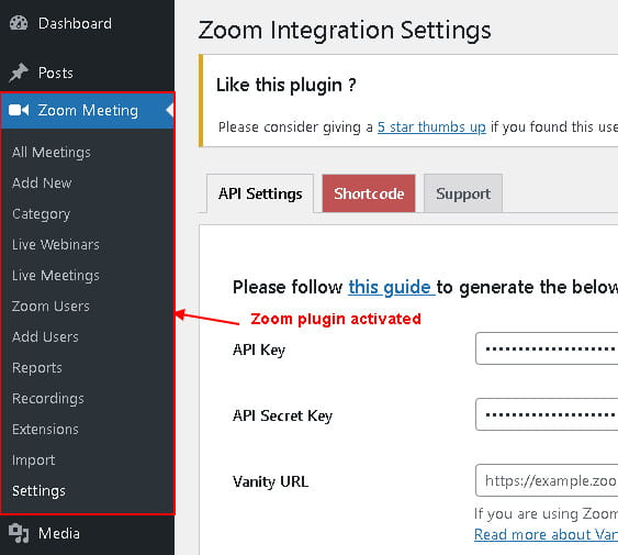 Video Conferencing with Zoom free plugin.